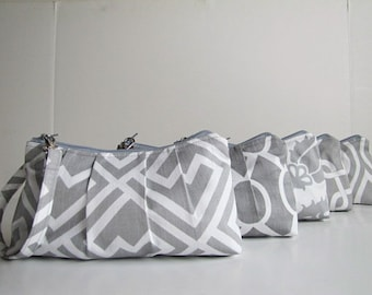 Set of 5, Bridesmaid Gift, Wristlet Clutch, Zipper Pouch, Bridesmaid Gift Idea, Design Your Set, Gray Collection,