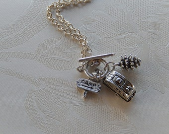 Camping Necklace, The Mountains are Calling, Pinecone, Airstream Camper, Camp Sign, Gift for Her