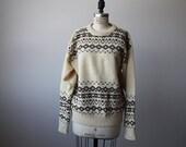 Vintage Wool Oversized Hand Knit Sweater Slouchy Traditional Winter Nordic Scandinavian Icelandic