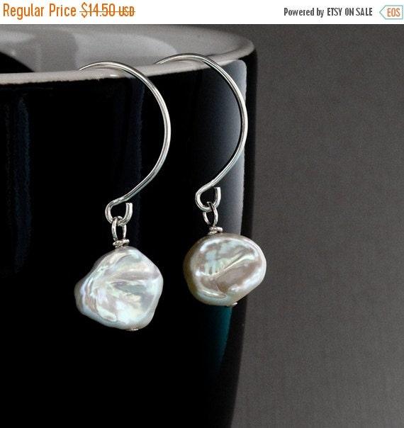 ON SALE SIngle Pearl Earrings, One of a Kind Earrings, Keshi Pearl Jewelry, Sterling Silver Wires, Genuine Freshwater Pearl, Wedding Jewelry
