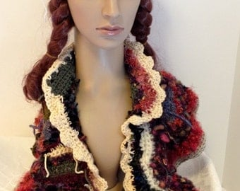 Hat and Shoulder scarf/wrap Handmade Crochet Freeform wearable Art