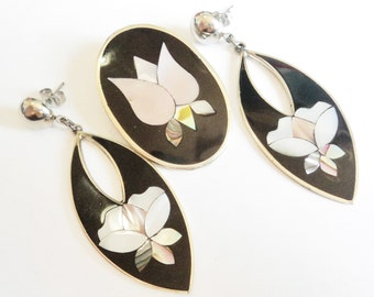 Mexican Pietra Dura Brooch & Earrings... Alpaca Silver Plate... Mother of Pearl