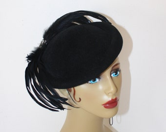 Vintage Black Fascinator Hat . SONNI San Francisco 1980s Felted Wool Derby Tilt Hat with Feather Plumes & Rhinestones