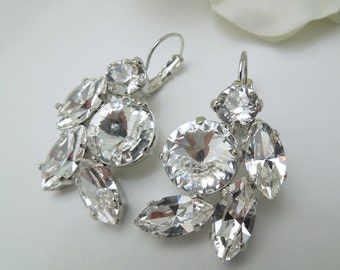 Bridal Earrings Swarovski crystal Earrings Chandelier Earrings Rhinestone Earrings Wedding Crystal Earrings Statement Bridal Earrings AMARIS
