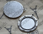 4 pcs Antique silver round Cabochon pendant tray (Cabochon size 25mm),bezel charm findings,cabochon blank findings