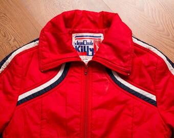 Jean Claude Killy Ski Coat, Retro Puffy Red Nylon Jacket, Vintage 80s
