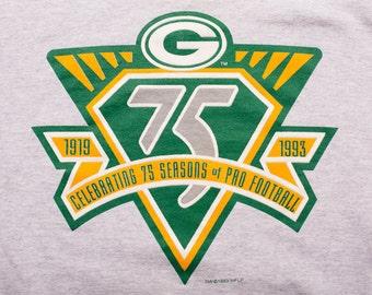 Green Bay Packers 75 Seasons Sweatshirt, 1993 NFL Apparel, Vintage 90s