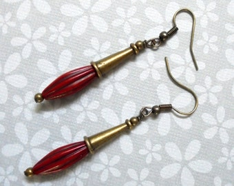Red and Brass Earrings (2804)