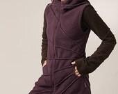 Magic Elf  Vest - Cozy  Winter Wear - Star Burst Hoodie Waist Coat - Pixie Hood Fleece Jacket - burning man - women's clothing