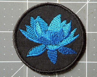 Blue Lotus Iron on Patch 2.5 inch