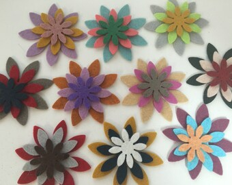 Wool Felt Bloom Flower Die Cut 30 ct. - Random Colored 3429 - Felt Flowers - Felt Supply - flower crown - Hair Clip Supply - Kids Crafts