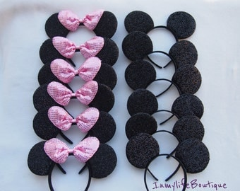 Lot of 12 Mickey & Minnie Mouse Ears Black Light Pink BIG Bow Shimmer Headband Sequin Headband Birthday
