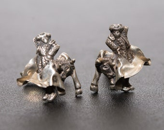 Bull fighter, Spain, Taxco signed sterling CGL Handcrafted Cufflinks Vintage 1960s