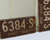 1941 Ohio Rusted License Plates - two rustic auto license plates