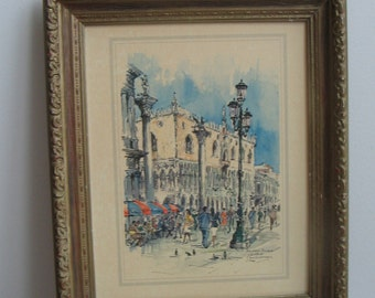 Palazzo Ducale Venezia by Jan Korthals in Gold Wood Frame With Raised Relief, Mid Century Cafe Plaza Streetscape Vintage Art Print