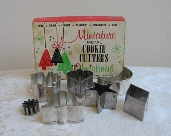 Vintage Miniature Metal Cookie Cutters For Christmas Thanksgiving, Set of 7 With Original Mid Century Box