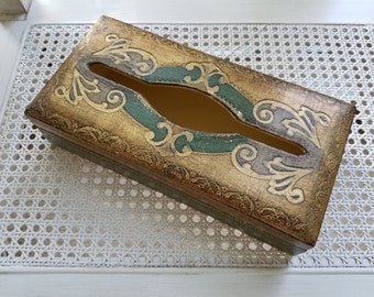 Vintage Italian Florentine Wood Tissue Holder Kleenex Box, Green Gold Gilt, Hollywood Regency Paris Apartment
