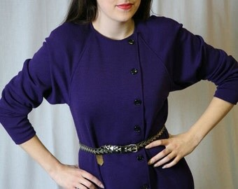 SALE Vintage 80s Purple Dress by Oscar de la Renta: Knit Dress