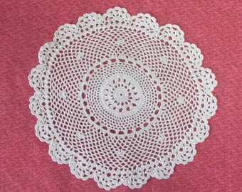 Vintage 9 Inch Hand Crochet Off White Cotton Hand Crafted Doily