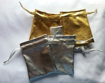 50 Gold and 50 Silver shiny shimmer fabric favor bags set of 100 bags 3 x 4inch Great for handmade soaps, herbs, tea, jewelry etc.