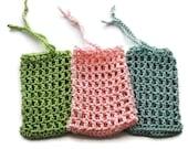 Cotton Crochet Soap Saver - Crochet Mesh Soap Saver - 100% Cotton Soap Bag - Crochet Soap Sack in Green, Pink or Blue