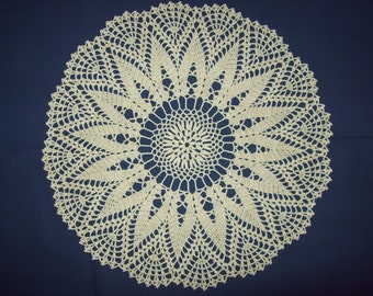 Light Cream Crocheted Doily, 15 inch Hand Made  Heirloom Quality, off white Crochet Lace, CozyHomeCrochet