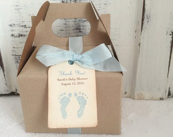 Boy Baby Shower Favor Boxes Blue Footprints Boy Favor Boxes, Personalized Tag, Ribbon Set of 10
