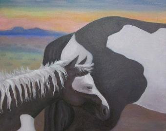 Original Framed Painting Pinto Horses Southwestern