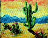 Miniature 2x2 Cactus Painting, Southwestern Art, Acrylic Painting, Doll House Art, Small Format Art, Original Mini Painting