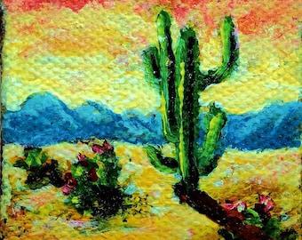 Miniature 2x2 Cactus Painting, Southwestern Art, Acrylic Painting, Doll House Art, Small Format Art, Original Mini Painting