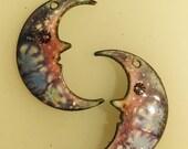 Man in the Moon Enameled Earring Pair  2016 F-1136