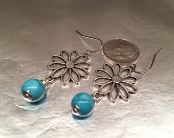 EARRINGS Lovely Daisy Shape with Turquoise colored Dangling Bead Fun Feminine Floral Jewelry Women Teen Girls Trendy Pretty Valentine's Day
