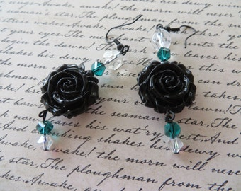 Dangling Earrings with Black Resin Roses and Teal Crystals