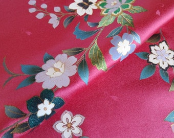 Japanese pure silk Pink Traditional floral design 14-9