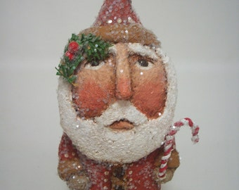 Santa Paper Mache Folk Art Primitive