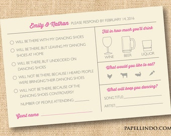 Funny Wedding Mad Libs RSVP Reply Card Printed SAMPLE
