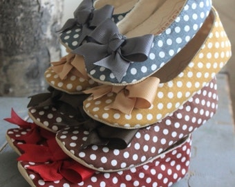 Polka Dot Baby Shoes, Toddler Shoes, Soft Sole Shoe, Butterscotch Polka Dot Shoes, Brown Polka Dot Shoes, Grey Polka Dot Shoes- Sadie