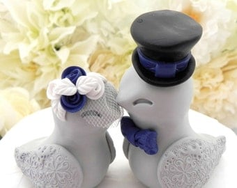 blue love birds wedding cake topper birds wedding cake topper white navy blue and by 11994