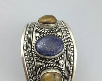 Valentine Sale Lapis and Tigers Eye Indonesian Silver Cuff Bracelet