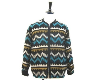 15% Off Out Of Town SALE SALE Vintage Navajo Turquoise Wool Baseball Varsity Style Jacket Mens M, Ladies L