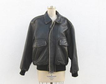 Bomber Aviator Jacket Distressed Black Rugged Leather Mens M/L Ladies XL