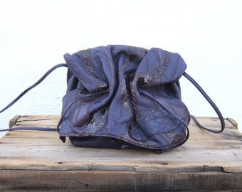 Carlos FALCHI Purple Patchwork Ruched Animal Skin 1980s Shoulder Bag