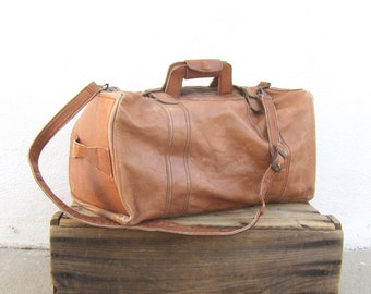 Duffle Bag  Tan Leather Slouchy Travel Medium Duffle Bag