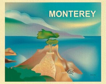 Monterey Bay art, Monterey Bay map, Monterey skyline, Monterey Bay poster, Monterey CA Wall Art, 16 Mile Drive print - style E8-O-MONTERY