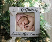 Godfather Christmas Ornament, Picture Frame Ornament, Personalized Godfather Gift, Godparent Christmas Gift