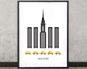 New York poster, Art print, Scandinavian design, skyline, modern poster
