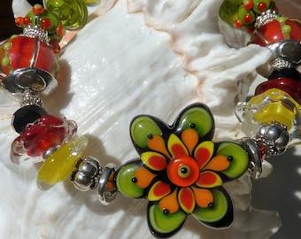 HAPPY* HAPPY* HAPPY  Lampwork Bracelet