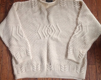 Vintage Men's Doogan Donegal Ireland New Wool Sweater Size Large