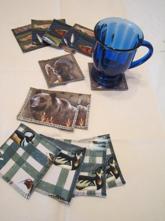 CLEARANCE - Fabric Drink Coasters - Wildlife Series - Bear - Ram - Duck - Fish - Sportsmen Lodge Cabin Man Cave Decor - Style CHOICE