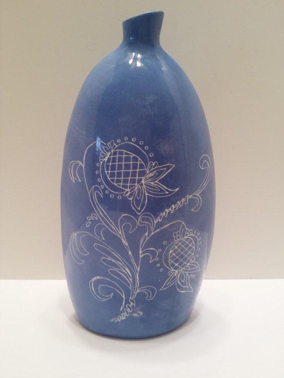 Vintage Handpainted and Hand Etched Ceramic Blue and White Vase - Glazed Pottery - BOHO - Cottage - Garden -Shabby Decor